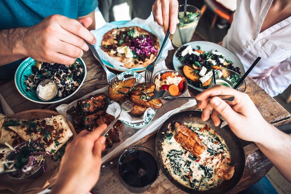 group-eating-diverse-foods-macronutrients